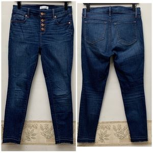 LOFT Modern Skinny High Waisted Raw Hem Jeans